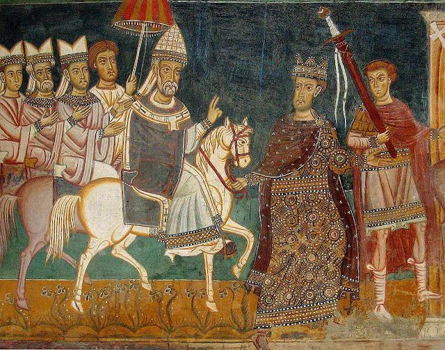 O Imperador Constantino conduz o Papa São Silvestre I a Roma