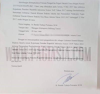 Isi Surat Pengunduran Diri Ahok Sebagai Gubernur Ke Presiden Jokowi