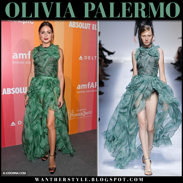 Olivia Palermo in green printed sleeveless dress ermanno scervino red carpet fashion september 22