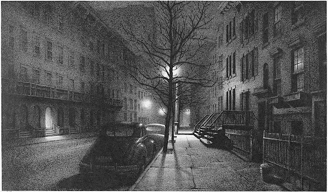 Stow Wengenroth art 1947, a city street at night