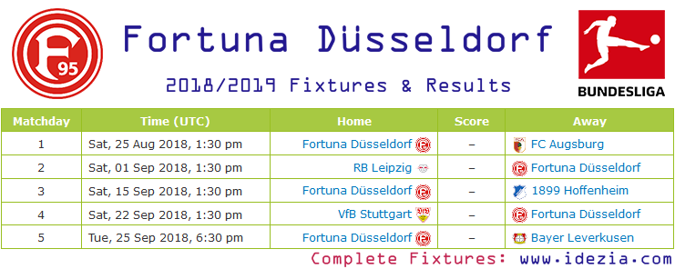 Download Full Fixtures PNG JPG Fortuna Düsseldorf 2018-2019