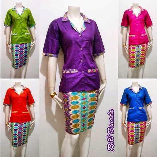 Gambar Baju Batik Kerja Kombinasi Polos: Setelan Baju Batik Blus Dan Rok Pendek