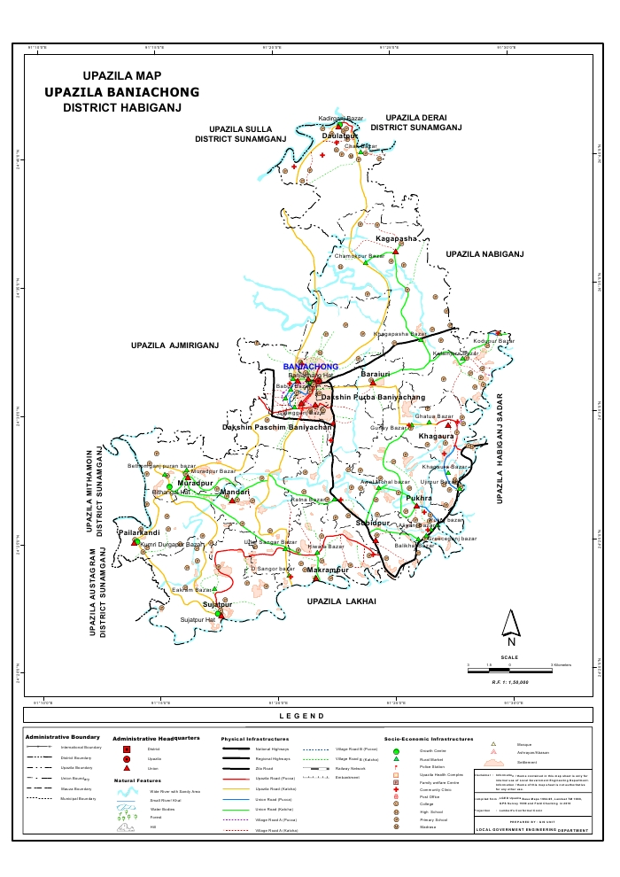 Baniachong Upazila Map Habiganj District Bangladesh
