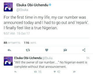 Media personality, Ebuka Obi-Uchendu finally feels like a true Nigerian after his car number was announced at an event and he was told to go repark