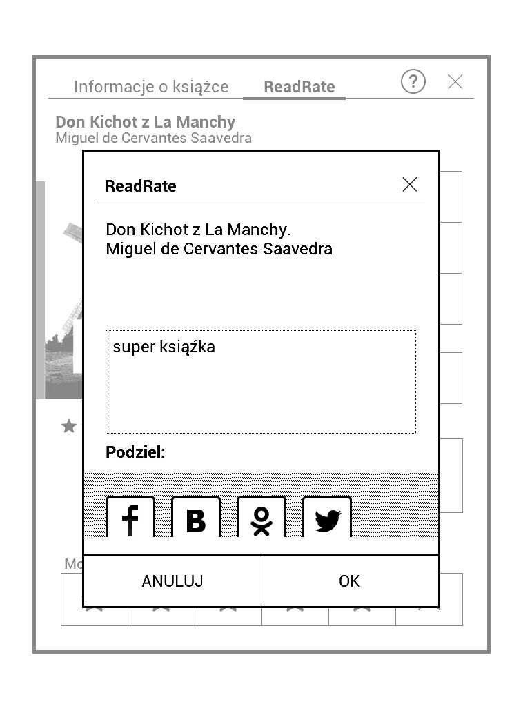 PocketBook Aqua 2 - dodawanie komentarza w aplikacji ReadRate
