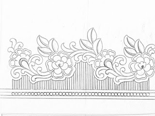 Fower borders design pencil sketch on tracing paper for hand emroidery saree design.saree ka kinara drawing for hand works and machine work.