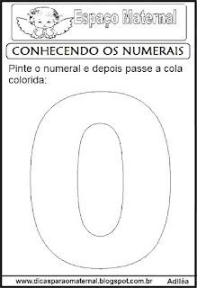 Numeral zero para colorir