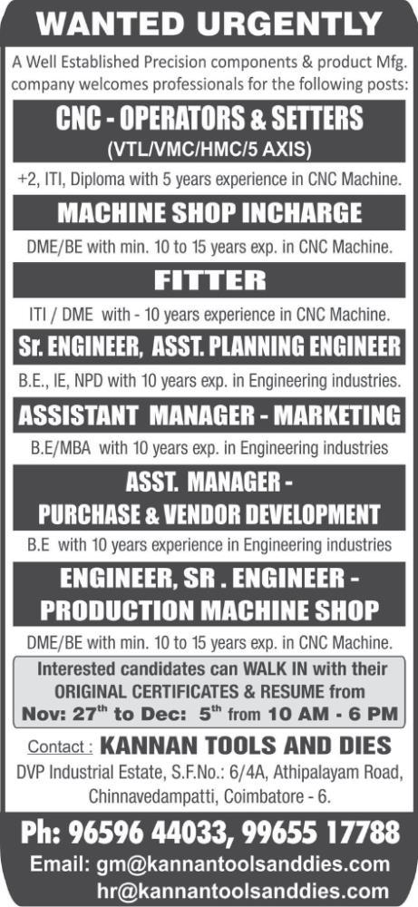Walk In Interview for various job vacancies in Kannan Tools and Dies ...