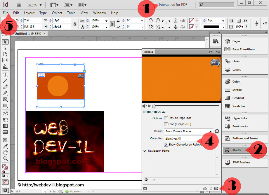 Interactive PDF inserting swf file InDesign | WebDev-il
