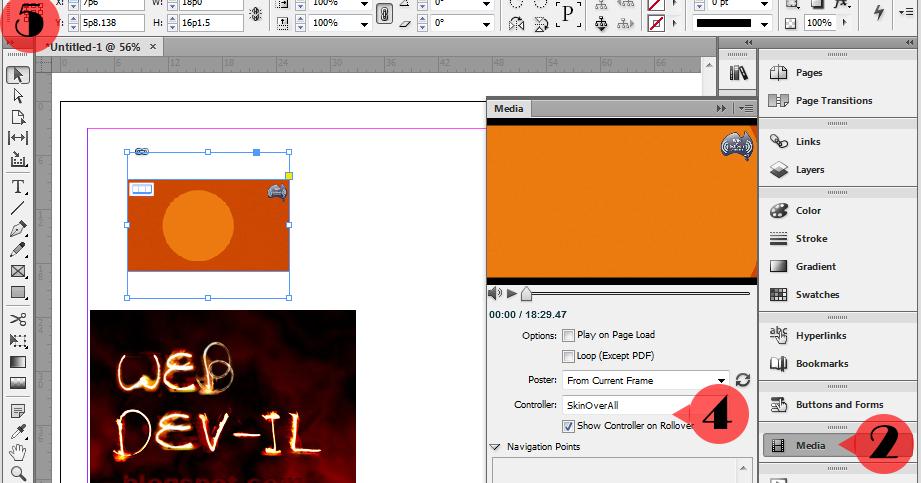 WebDev-il: Interactive PDF inserting swf file InDesign