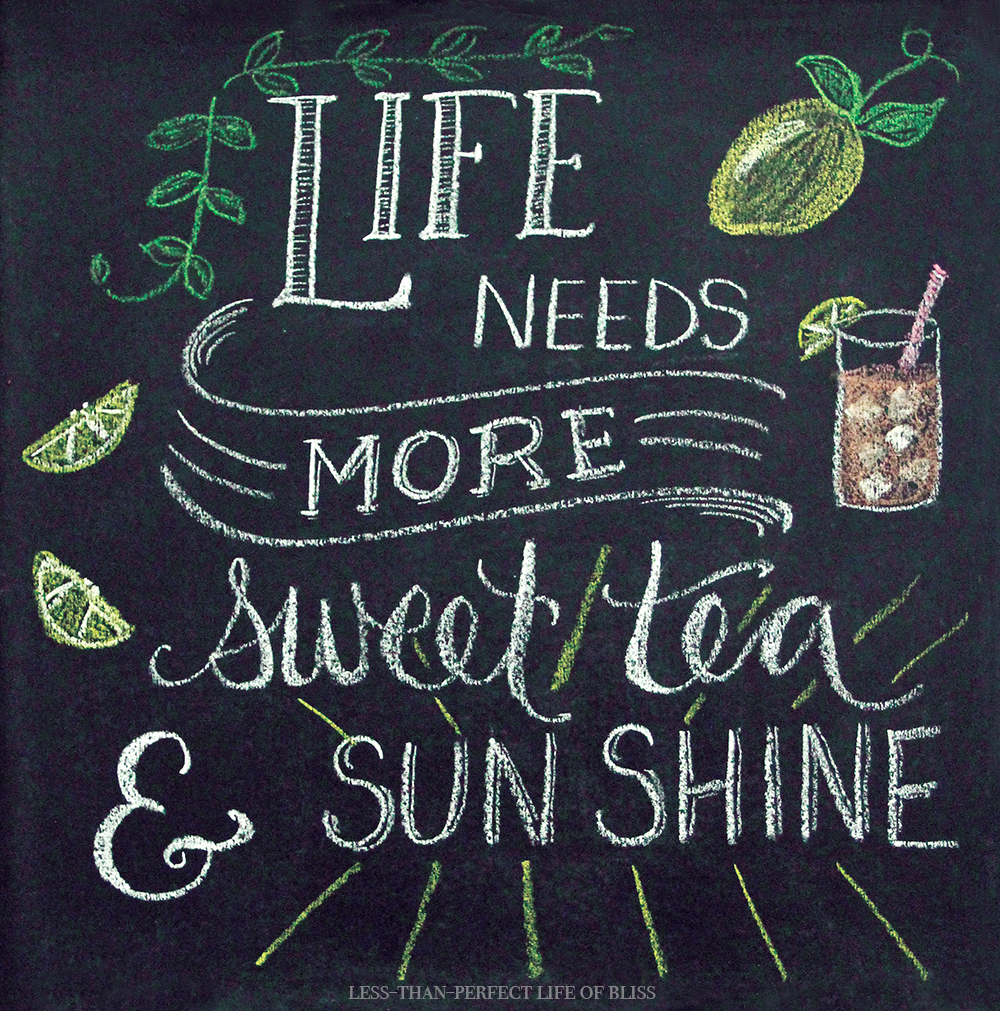 Sweet Tea and Sunshine Summer Chalk Art (Free Printable ...
