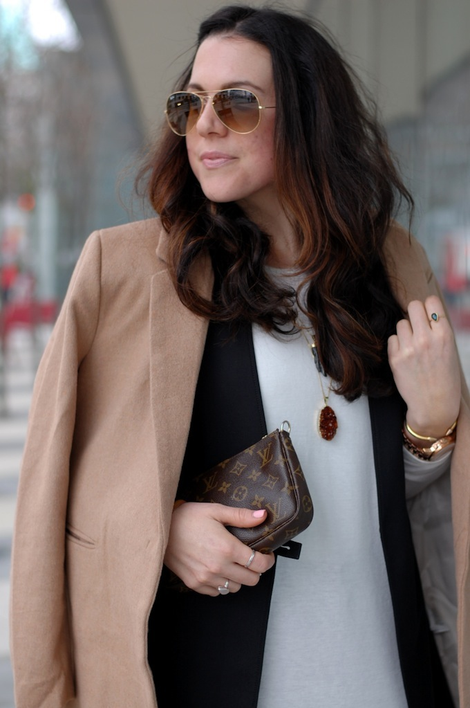 Camel H&M Coat and Ray Ban sunglasses by Vancouver fashion blogger Aleesha Harris of Covet and Acquire.