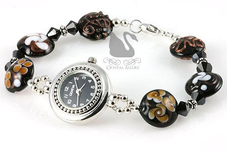 Chestnut Crystal Beaded Lampwork Watch (W014)