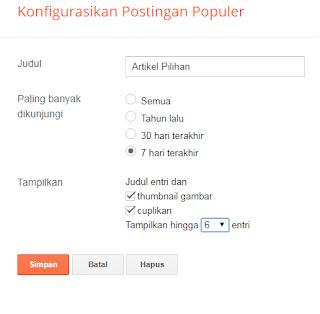 Konfigurasi Popular Post