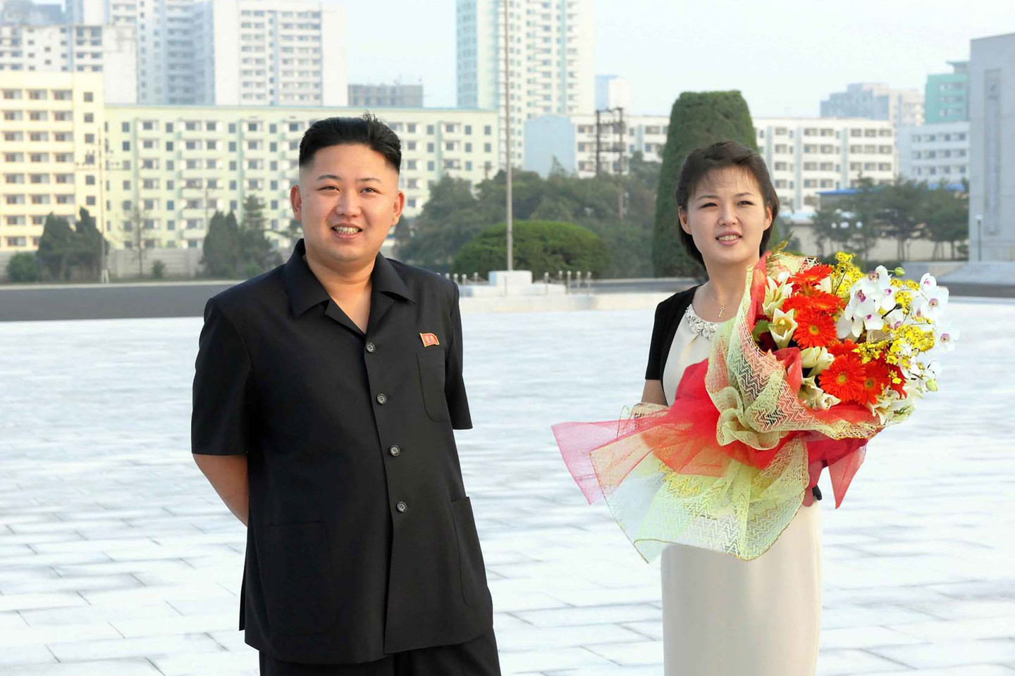 North Korean leader Kim Jong Un and his wife Ri Sol Ju, the First Lady