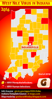 Choropleth map of Indiana counties with the West Nile Virus in 2016