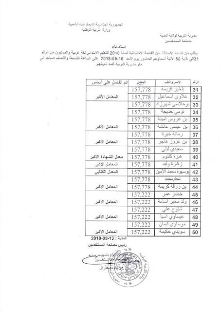 المدية : استدعاء مجموعة من قائمة الاحتياطيين الطور الابتدائي عربية + فرنسية