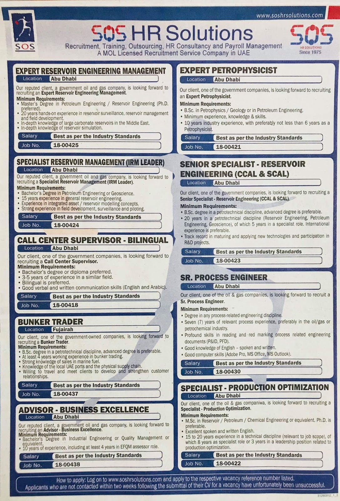 Required Multiple Vacancies Local Hiring UAE Source Gulf