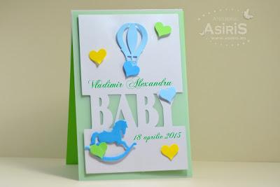 Invitatii botez handmade cu calut, balon si inimi decupate din carton si scrisul baby