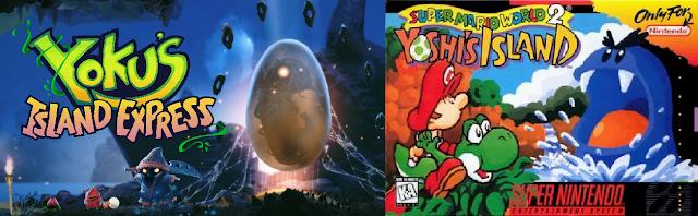Yoku's Island Express boxart versus Yoshi's Island comparison