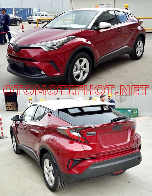 Foto Spyshot Toyota C-HR Hasil Produksi Toyota Motor Manufacturing Turki - Tampak Samping Kiri Depan dan Belakang - Warna Merah Marun Atap Putih