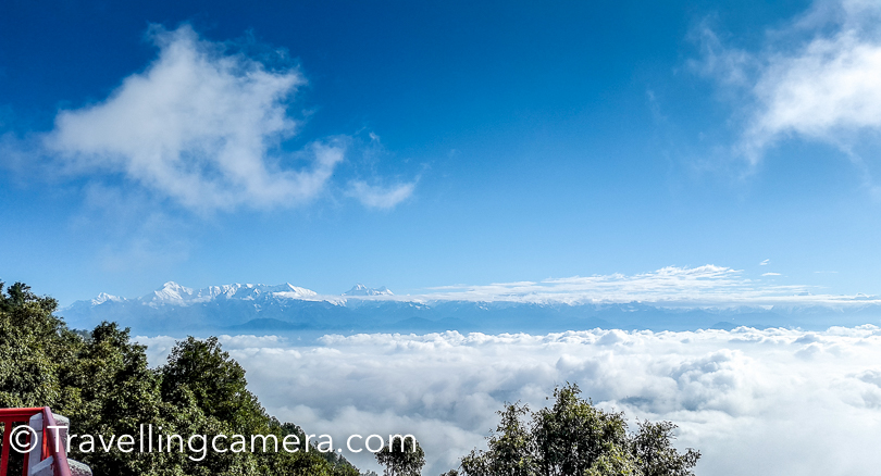 This is what you see from terrace of KMVN Binsar. Different snow covered mountain ranges can be seen from the hotel. We were lucky to have this clear view because most of the times it's hazy and hard to notice those peaks. Ghori Parbat, Hathi Parbat, Nandaghunti, Trishul, Mrigthuni, Maigtoli. Nanda Devi, Nanda Devi East, Nanda Khat were very clear in the morning. Th other mountains on right side of these peaks were hidden behind the clouds.