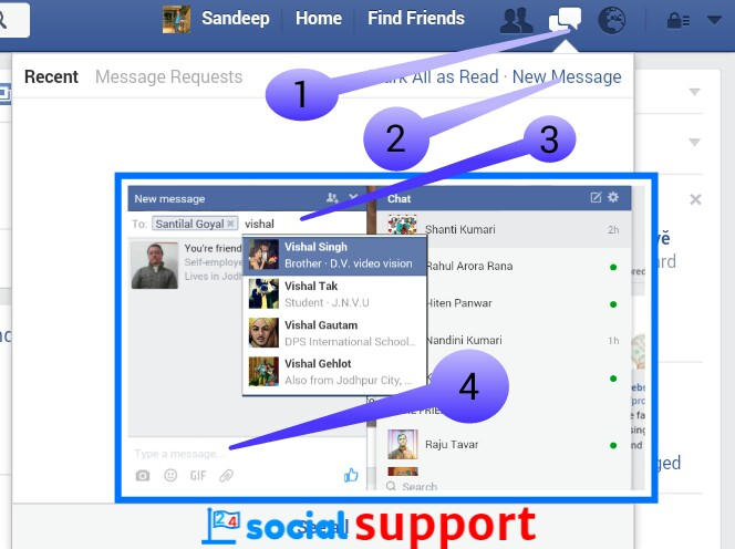 Facebook group chat and delete conversation kaise kare 24 social 1 message box pe click kare ccuart Image collections