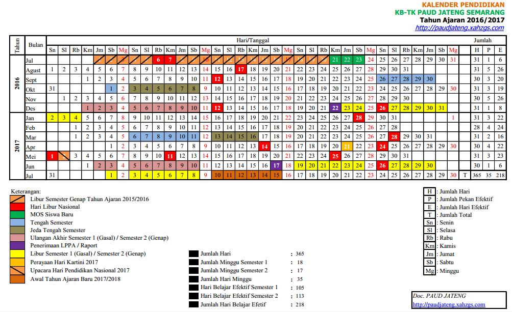 Contoh Kalender Pendidikan