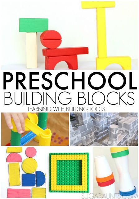 Preschool building blocks and building tools for learning and play