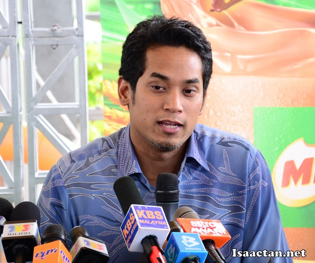 YB Encik Khairy Jamaluddin, Minister of Youth and Sports Malaysia addressing the media