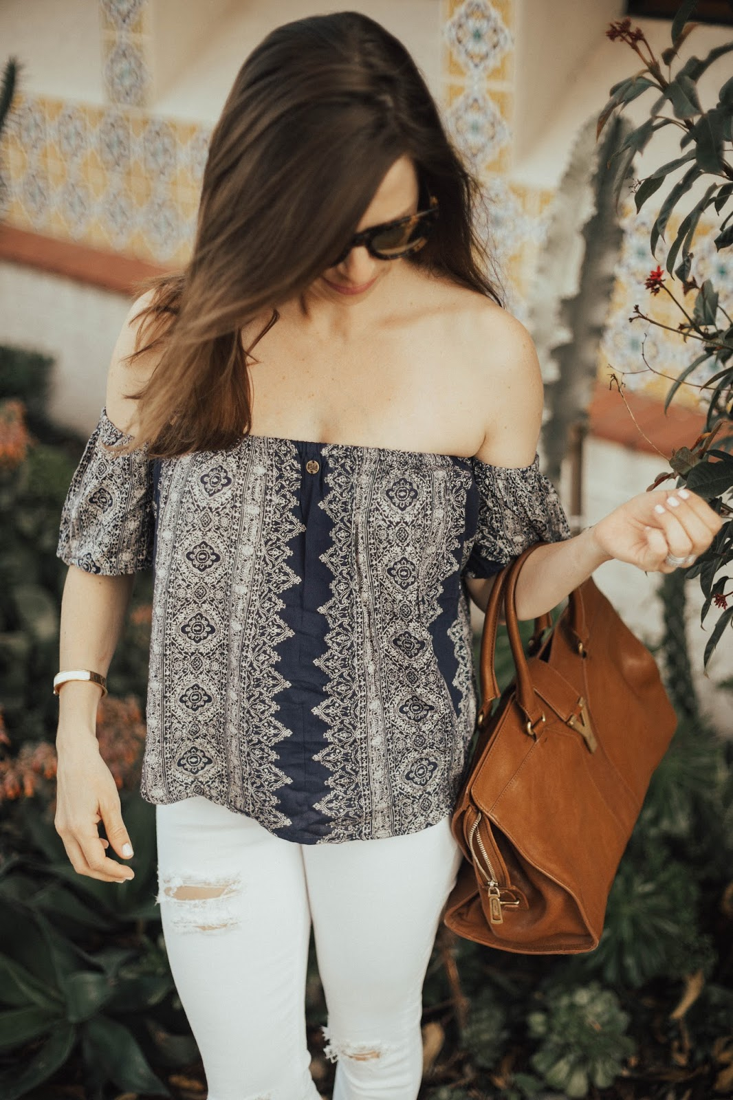 blue off the shoulder top outfit