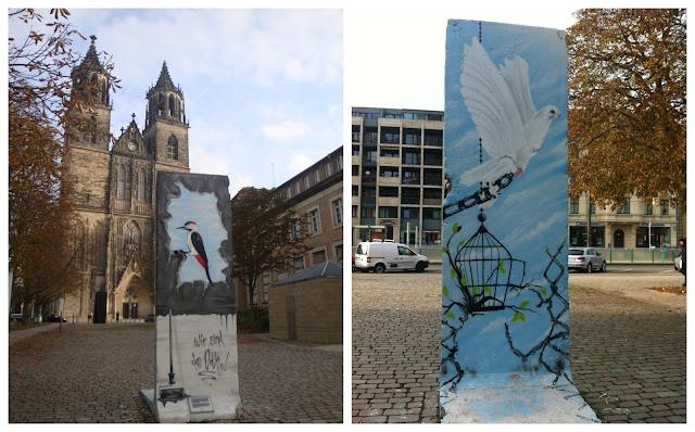 Catedral de Magdeburg e muro de Berlim