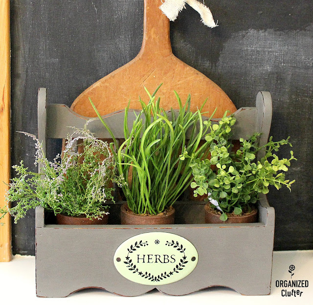 Thrift Shop Spice Rack Upcycled/Repurposed Farmhouse Style Decor #herbs #thriftshopmakeover #upcycle #repurpose #farmhousekitchen #containerherbs #dixiebellepaint