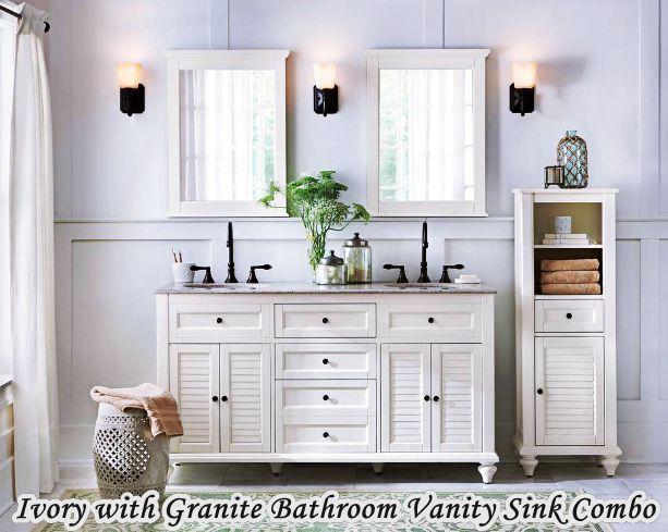 Ivory with Granite Home Depot Bathroom Vanity Sink Combo