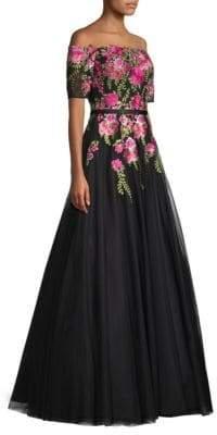 Basix Black Label Off-The-Shoulder Floral Ball Gown