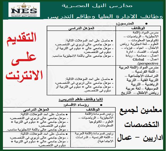 """اعلان وظائف وزارة التعليم بمدارس النيل الدولية بالمحافظات """" معلمين لجميع التخصصات - اداريين - خدمات معاونة """" تقدم الكترونياً هنا"""
