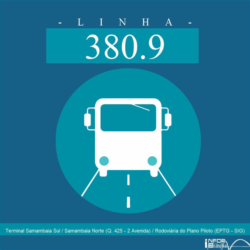 Horário de ônibus e itinerário 380.9 - Terminal Samambaia Sul / Samambaia Norte (Q. 425 - 2 Avenida) / Rodoviária do Plano Piloto (EPTG - SIG)