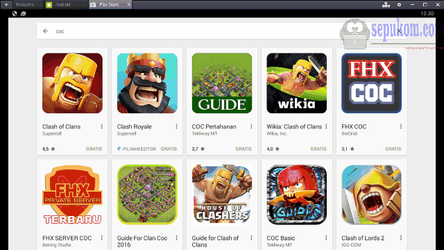 Clash Of Clans (COC) di Google Play Store Bluestacks App Player