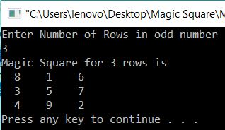 Magic Square for Given number of rows