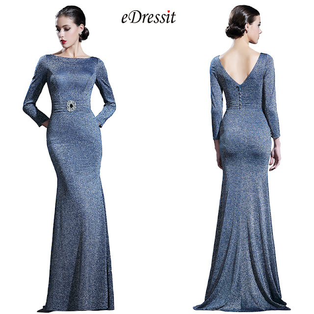 Long Sleeves Midnight Blue Formal Evening Gown