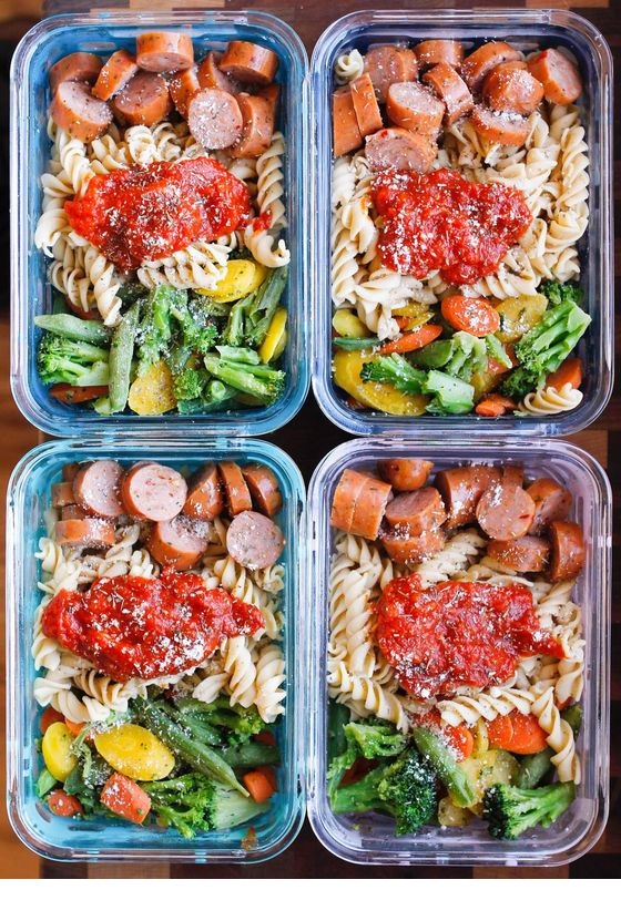 15-Minute Chicken Sausage Pasta Meal Prep Bowls