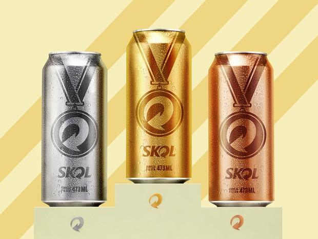 Skol lança latas medalhas: Serão cerveja em lata ouro, prata e bronze