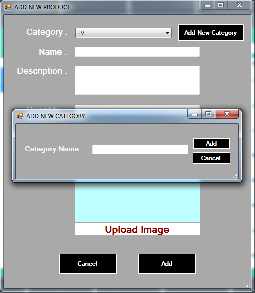 vb.net inventory system - add product category