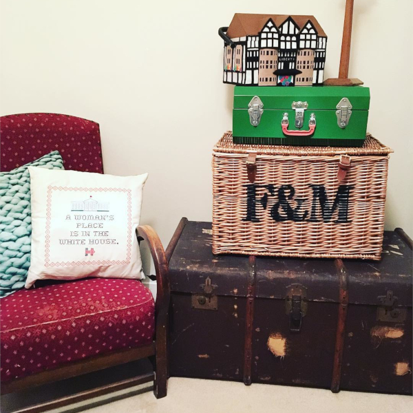 Cozy sewing spot with comfy chair, Liberty London sewing box and F&M hamper