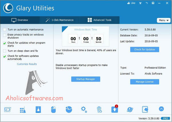 Glary Utilities Pro Portable is a system cleaner and performance booster for your Windows PC.