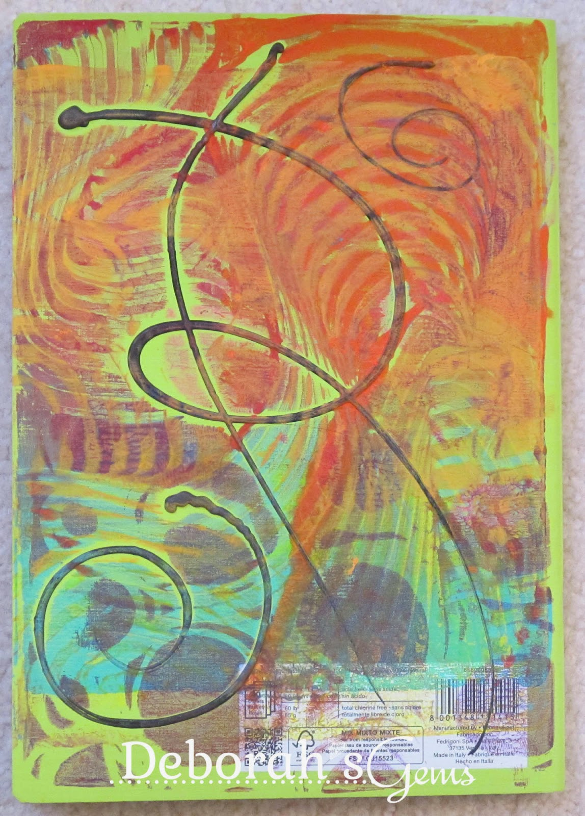 Gelli Journal 1 - photo by Deborah Frings - Deborah's Gems