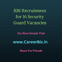 RBI Recruitment for 16 Security Guard Vacancies