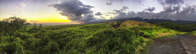 sunset on the back road on the Road to Hana tour