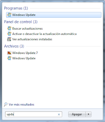 Программа Windows Update в результатах поиска