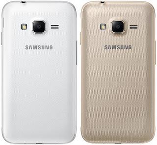 Samsung Galaxy J1 mini prime warna putih dan emas bagian belakang